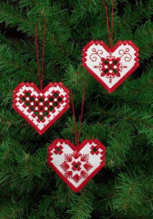 3-pack hardanger hjärtan
